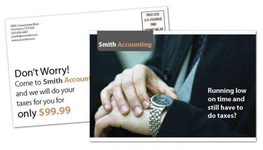Accounting amp Tax Services Postcard Design Layout