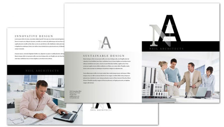 Architect Builder Construction Firm Half Fold Brochure Design Layout