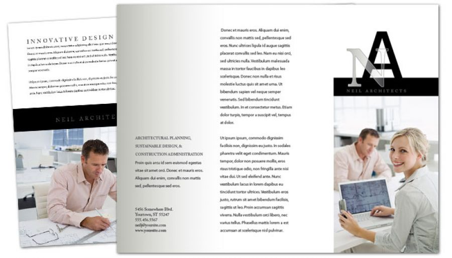 Architect Builder Construction Firm Tri Fold Brochure Design Layout