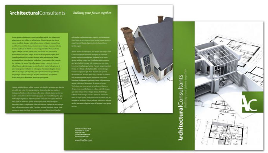 Half Fold Brochure Template For Architect Engineering Firm. Order