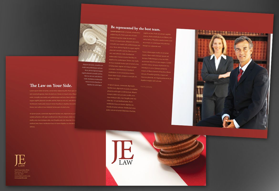 Attorney Law Firm Half Fold Brochure Design Layout