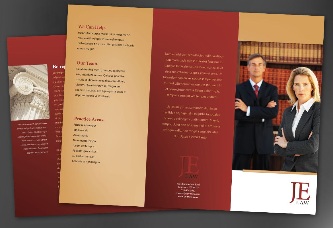 Attorney Law Firm Tri Fold Brochure Design Layout