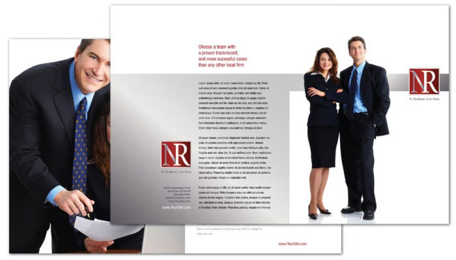 Attorney Lawyer Law Firm Half Fold Brochure Design Layout