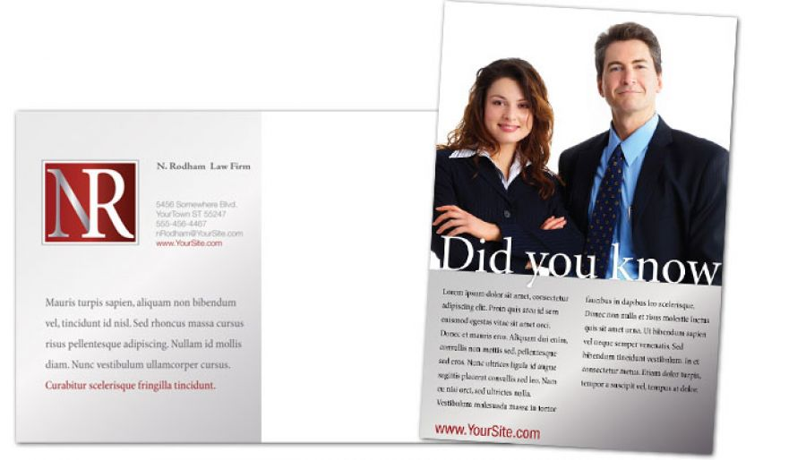 Attorney Lawyer Law Firm Postcard Design Layout