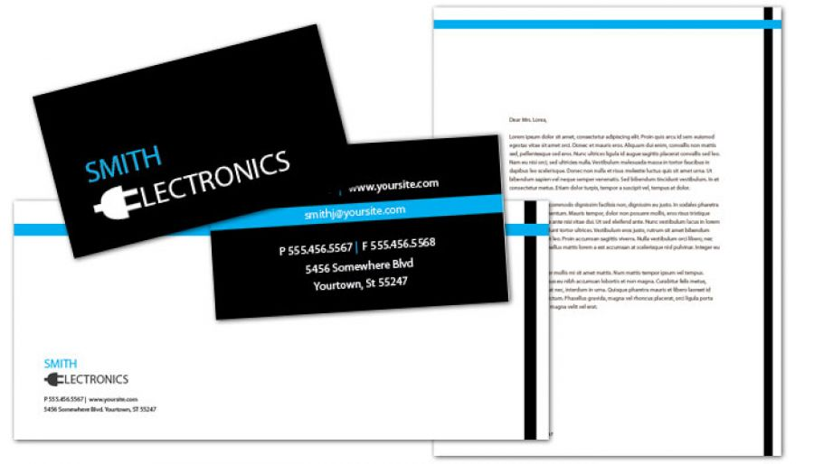 Audio Video Camera Electronics Business Card Design Layout