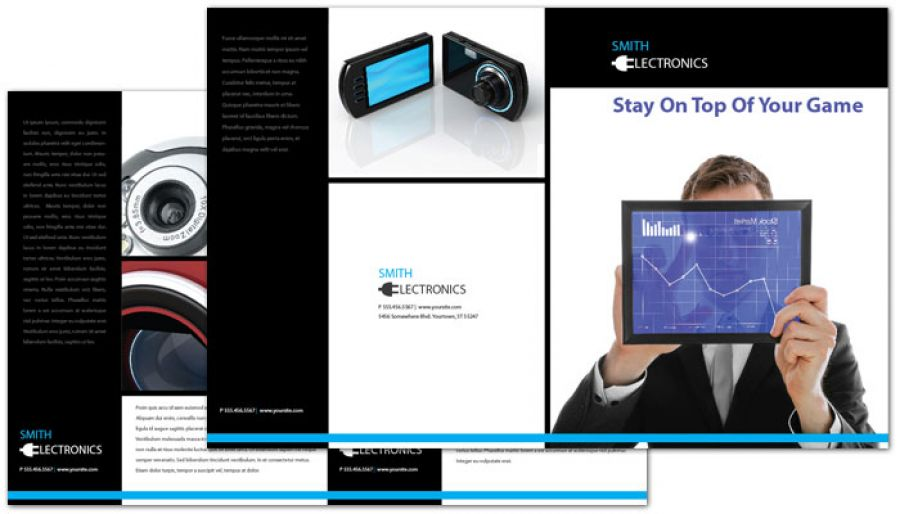 Audio Video Camera Electronics Half Fold Brochure Design Layout