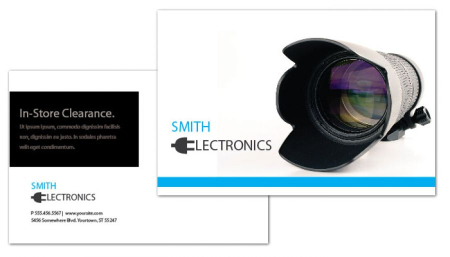 Audio Video Camera Electronics Postcard Design Layout