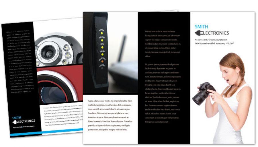 Audio Video Camera Electronics Tri Fold Brochure Design Layout