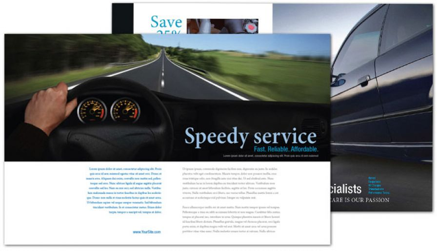 Automotive Repair Shop Half Fold Brochure Design Layout
