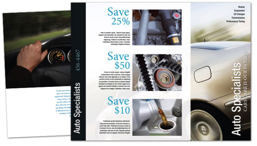 Automotive Repair Shop Tri Fold Brochure Design Layout