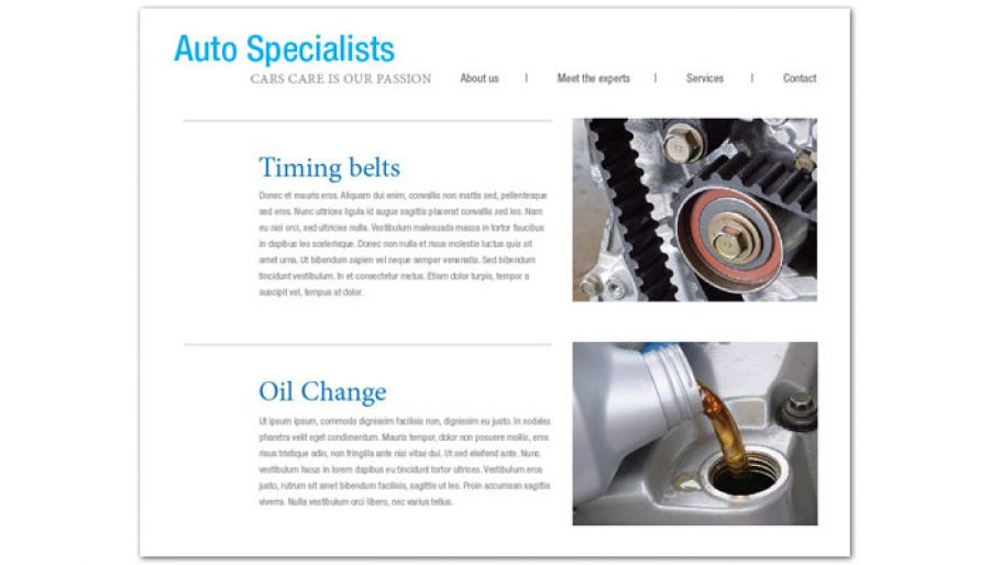 Automotive Repair Shop Website Design Layout