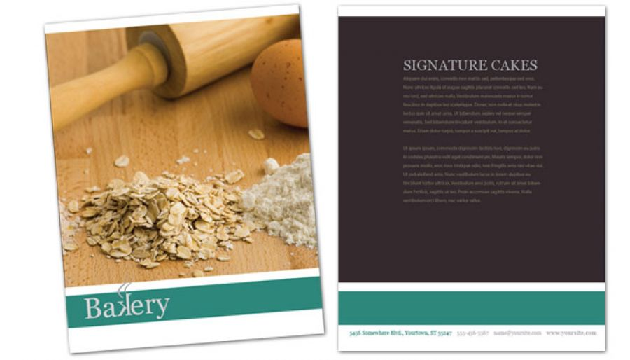 Bakery Pastry Restaurant Flyer Design Layout