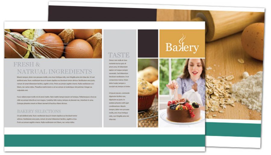 Half Fold Brochure Template For Bakery Pastry Restaurant Order - Bakery brochure template