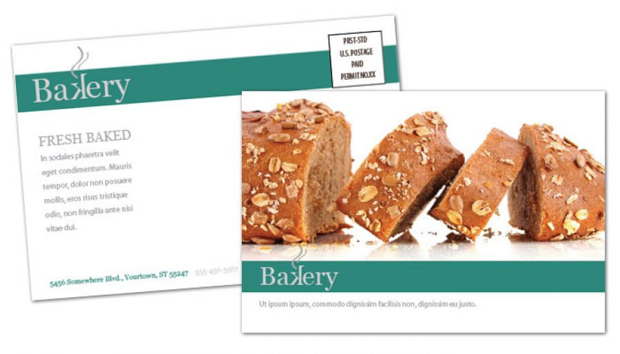 Bakery Pastry Restaurant Postcard Design Layout