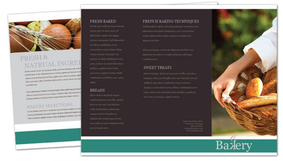 Bakery Pastry Restaurant Tri Fold Brochure Design Layout