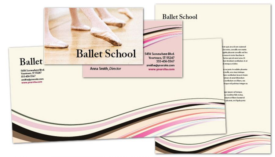 Ballet Dance School Business Card Design Layout