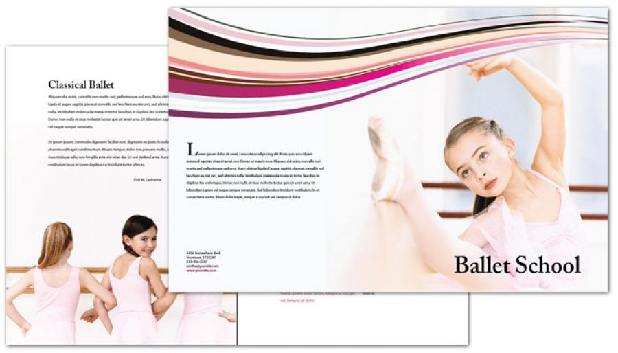 Ballet Dance School Half Fold Brochure Design Layout