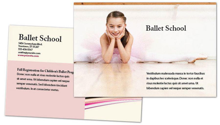Ballet Dance School Postcard Design Layout