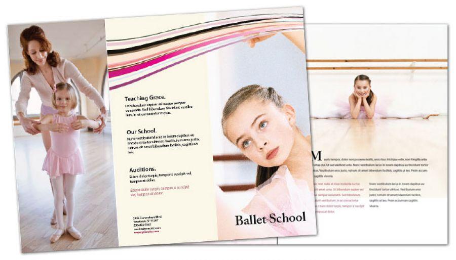Ballet Dance School Tri Fold Brochure Design Layout