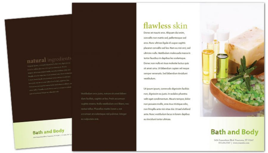 Bath body and health Tri Fold Brochure Design Layout