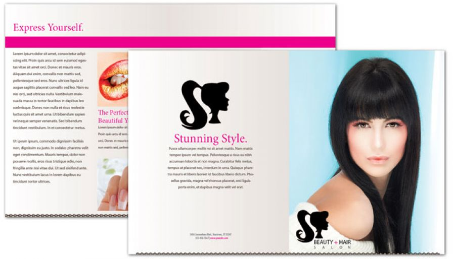 Half Fold Brochure Template For Beauty Spa Hair Salon. Order