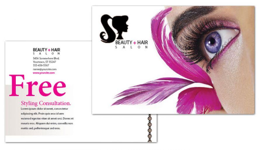 Beauty Spa Hair Salon Postcard Design Layout