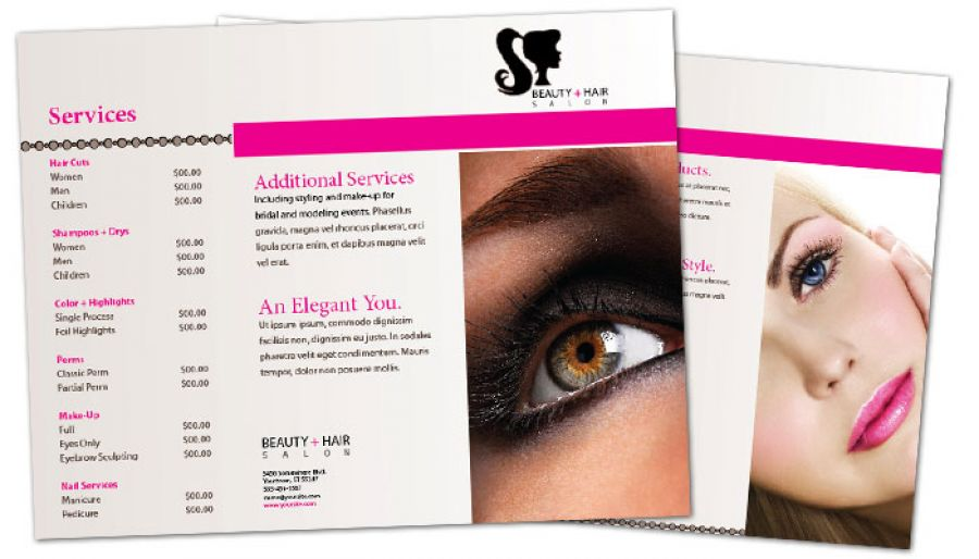 Tri Fold Brochure Template For Beauty Spa Hair Salon. Order Custom