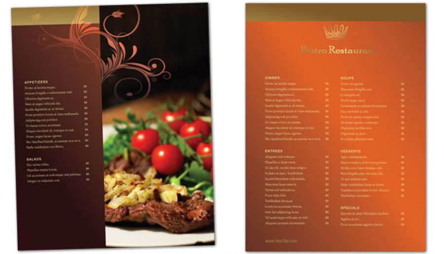 Flyer Template For Bistro Restaurant Menu. Order Custom Flyer Design