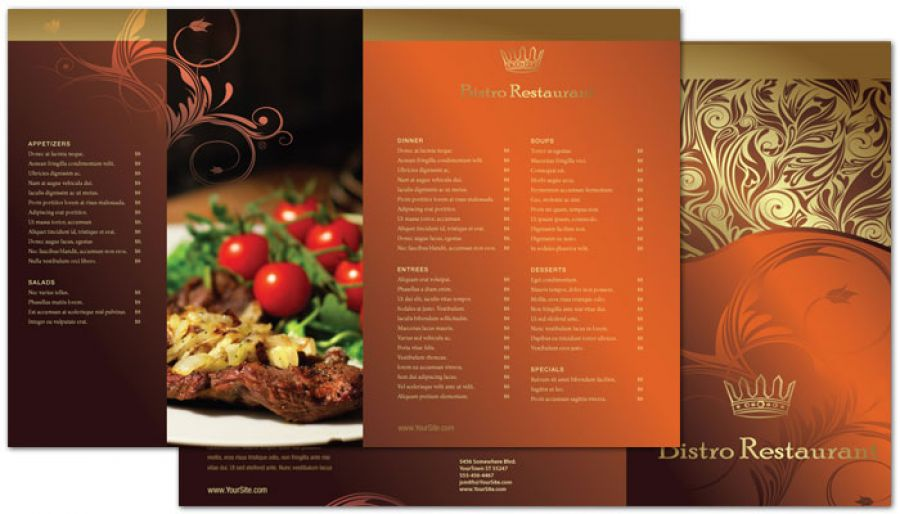 Tri Fold Brochure Template For Bistro Restaurant Menu Order