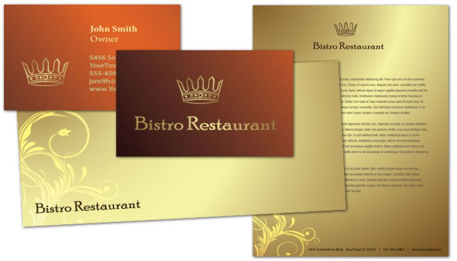 Letterhead template for bistro restaurant menu order for Restaurant letterhead templates free