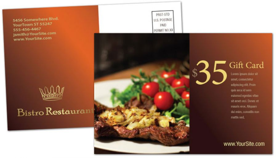 Bistro Restaurant Menu Postcard Design Layout