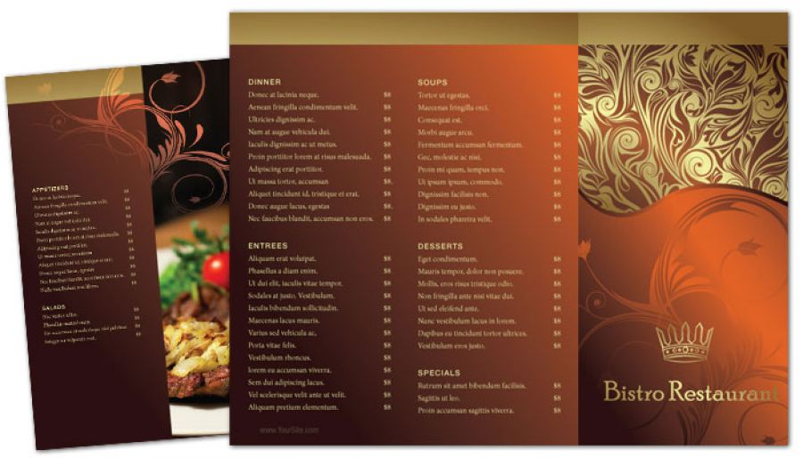 Tri Fold Brochure Template For Bistro Restaurant Menu Order Custom - Menu brochure template