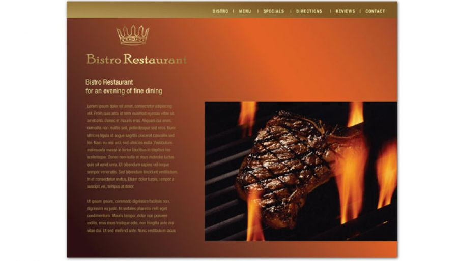 Bistro Restaurant Menu Website Design Layout