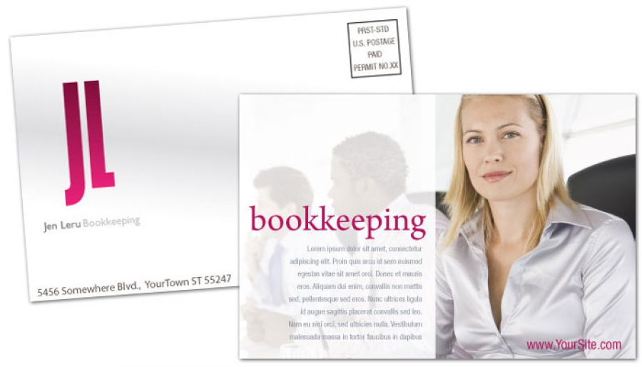 Bookkeeping Accounting Agent Postcard Design Layout