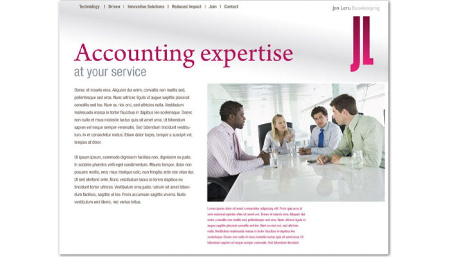 Bookkeeping Accounting Agent Website Design Layout