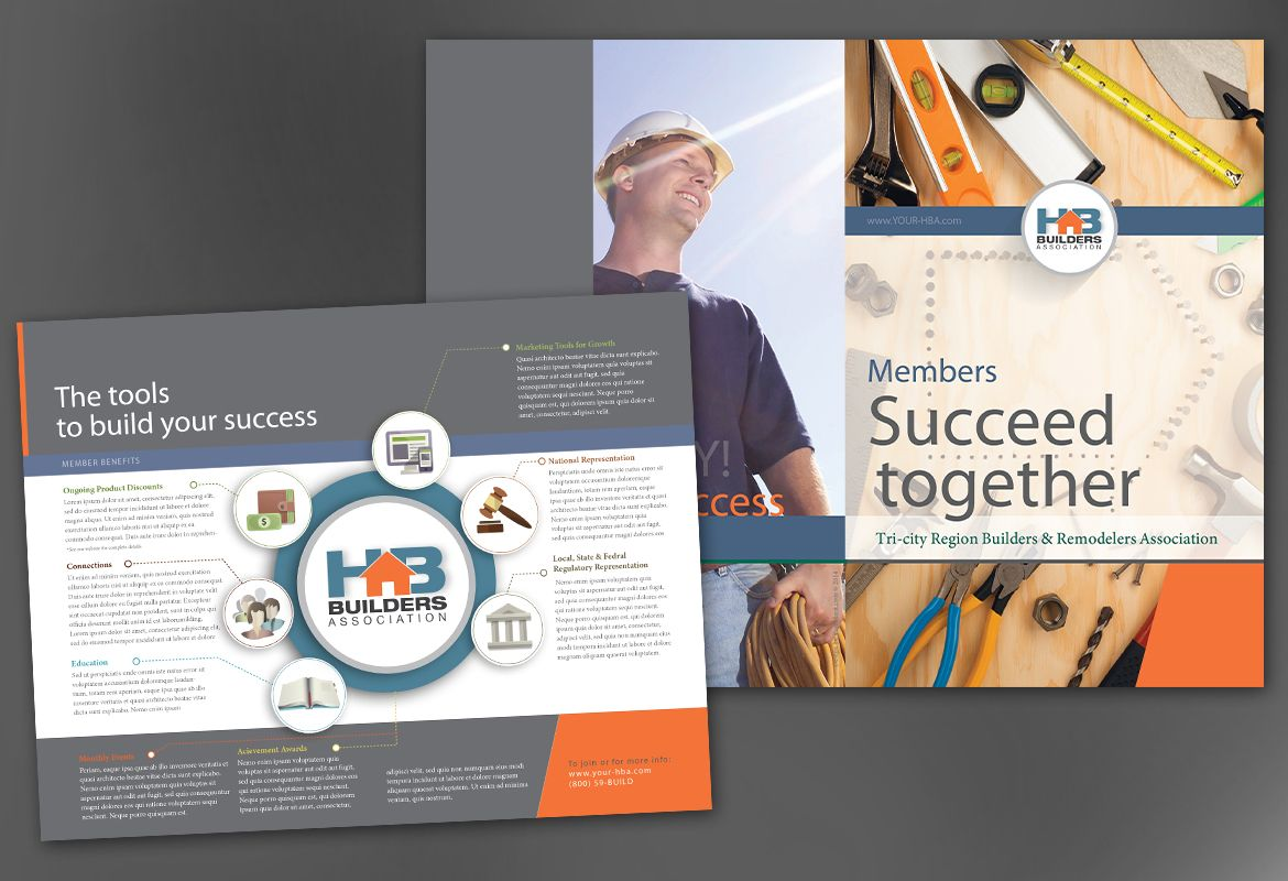 Half Fold Brochure template for Builders Association. Order Custom ...