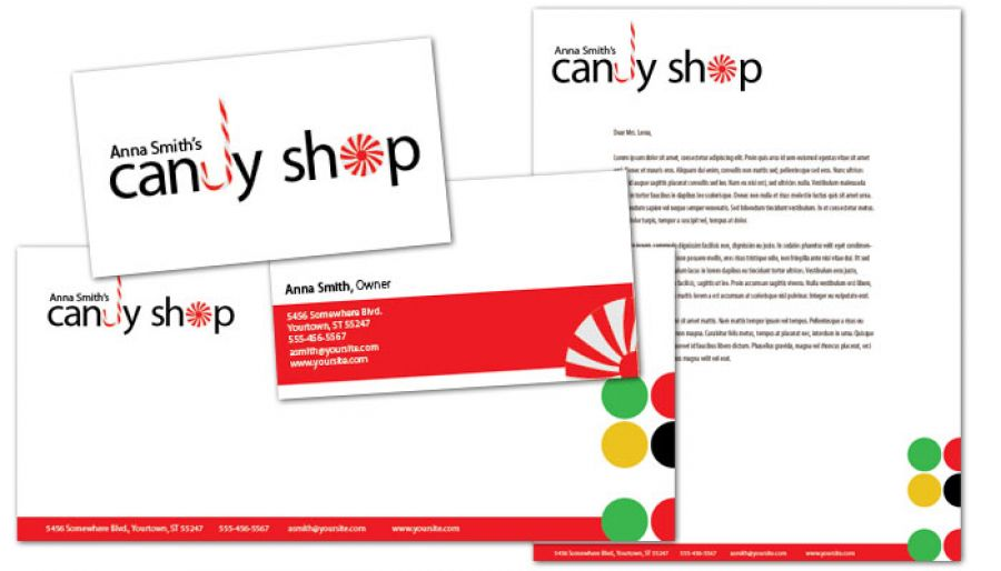 Candy Shop Confectionery Envelope Design Layout