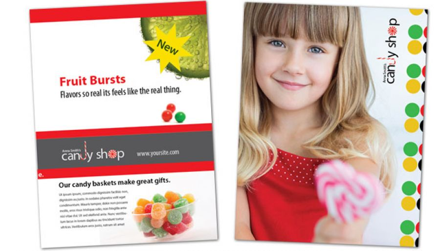 Candy Shop Confectionery Flyer Design Layout