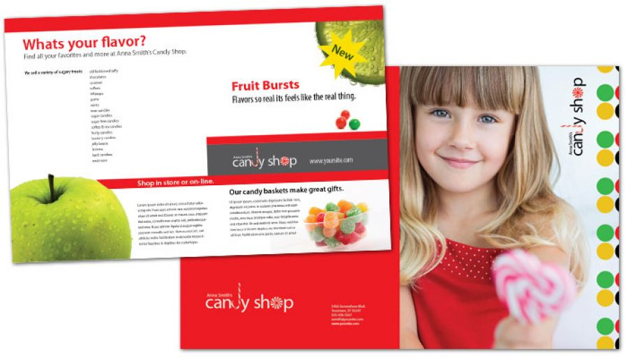 Candy Shop Confectionery Half Fold Brochure Design Layout