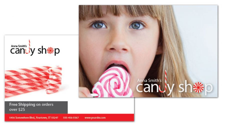 Candy Shop Confectionery Postcard Design Layout