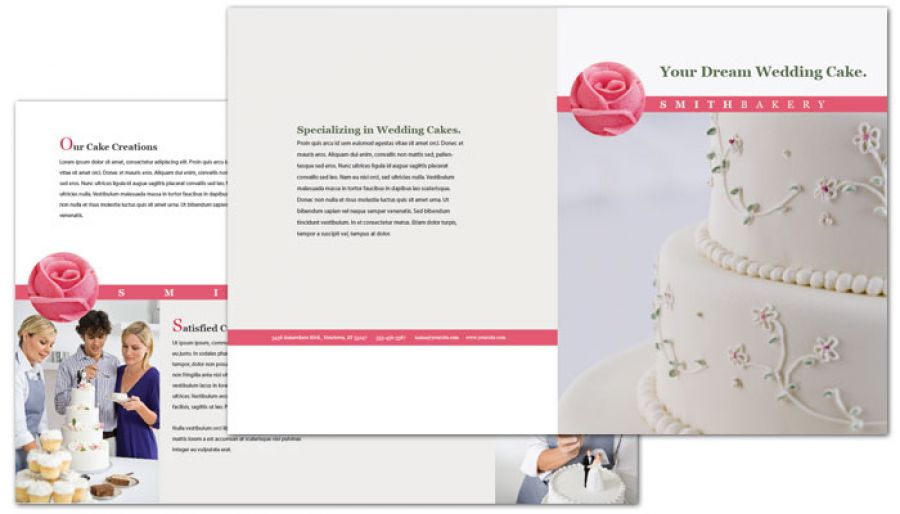 Half Fold Brochure Template For Catering Wedding Bakery. Order