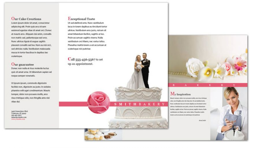Tri Fold Brochure Template For Catering Wedding Bakery. Order