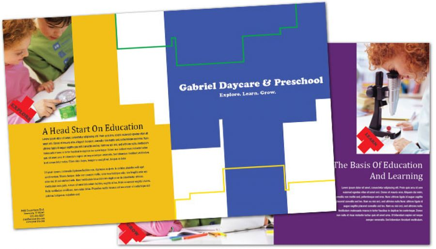 Child Development Center Half Fold Brochure Design Layout