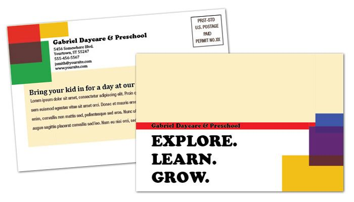 Child Development Center Postcard Design Layout