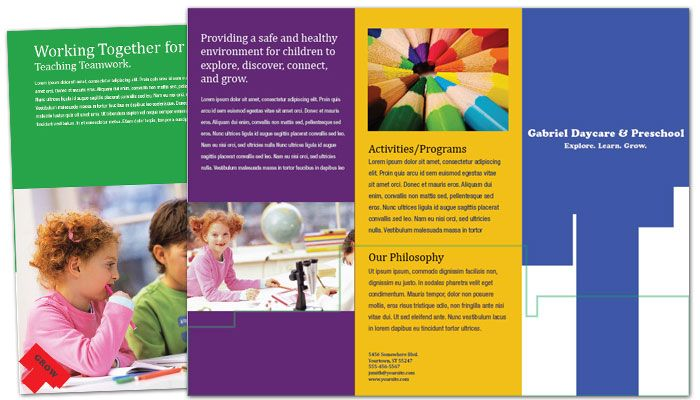 Child Development Center Tri Fold Brochure Design Layout