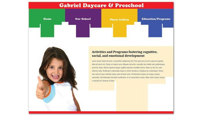 Child Development Center Website Design Layout