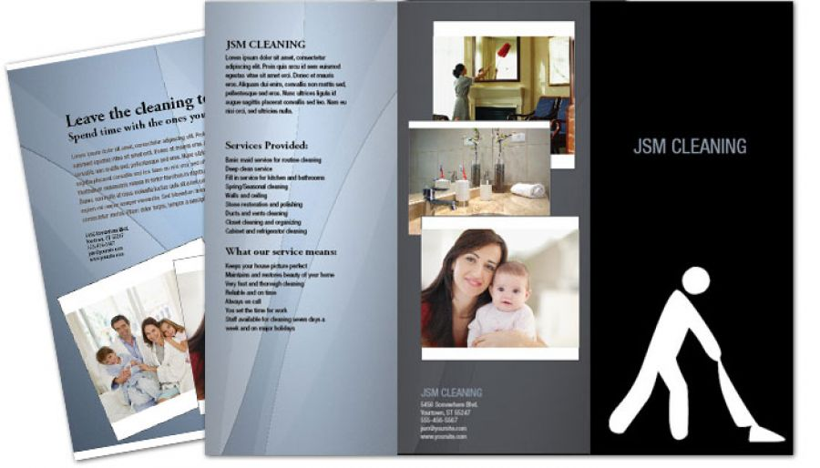 Cleaning Hospitality Services Tri Fold Brochure Design Layout