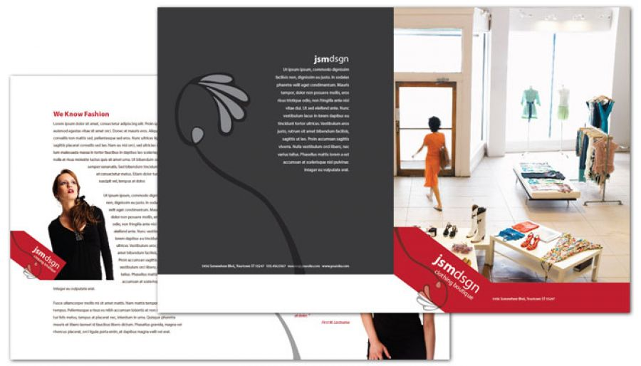 Half fold brochure template for clothing boutique fashion for Brochure design for boutiques