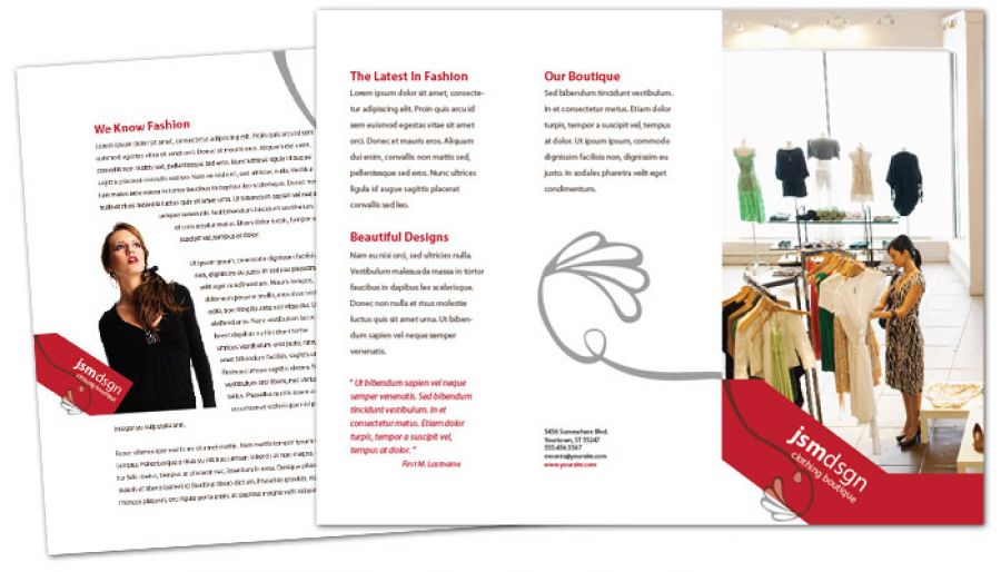 Clothing Boutique Fashion Stylist Tri Fold Brochure Design Layout