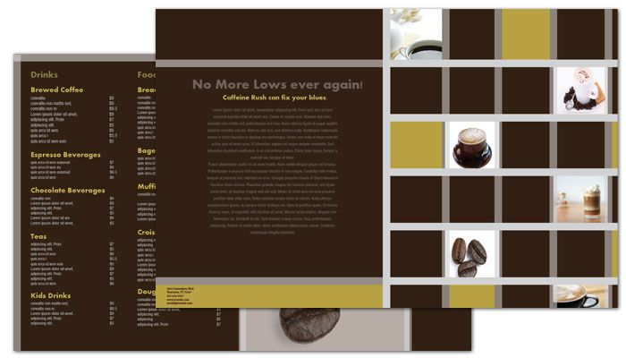 Coffee Shop Menus Custom Logo Design Layout